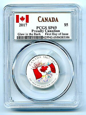 2017 Canada $5 Pcgs Sp69 Glow In Dark 150Th Anniv Proudly Canadian Silver Fdi