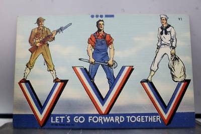 Military Victory Let's Go Forward Together Postcard Old Vintage Card View Post