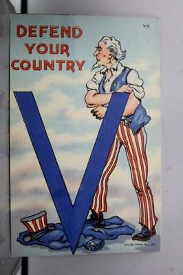 USA Uncle Sam Defend Your Country Postcard Old Vintage Card View Standard Post