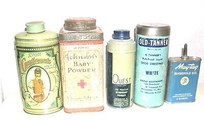 Lot Of 5 Vintage Tins - Toiletries + Maytag Oil- Johnson's Baby Powder-Shoe Dres
