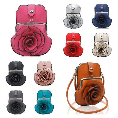 New Girls 3D Rose Floral Patterned Mobile Phone Pouch Purse Bag/Cross Body Bag