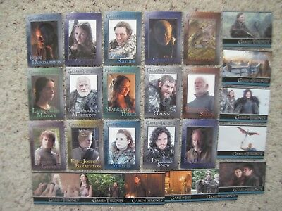 GAME OF THRONES CARDS  Season 3 TV 25 Base Lot w/ #1 #98 Cards 2014 Rittenhouse