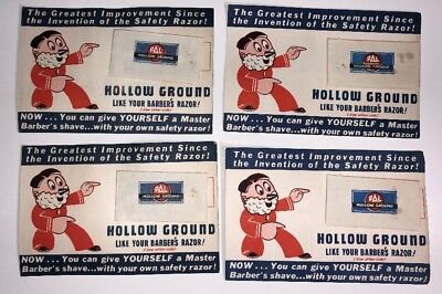 Lot Of 4 Pal Razor Blade Like Your Barber Shop Graphic Store Display Card
