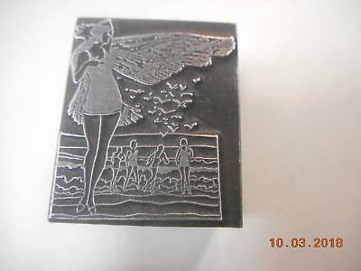 Printing Letterpress Printer Block, Art Nouveau Lady On Beach Printer Cut