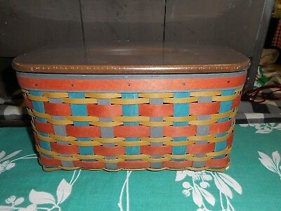 Longaberger Fall Colors Family Tissue Basket & Lid New