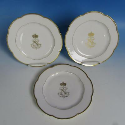 Sevres Porcelain Napoleon with Crown - 3 Scalloped Rim Dinner Plates - 9¼ inches