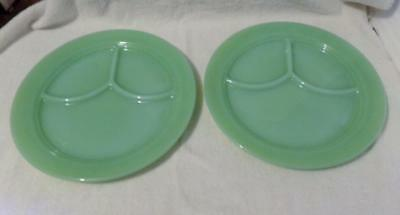 Vintage Fire King Jadeite Grill Plates-Set Of 2-Marked-Look!!