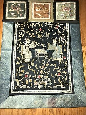 Chinese Royal Couple Man & Lady Embroidered Textile Tapestry