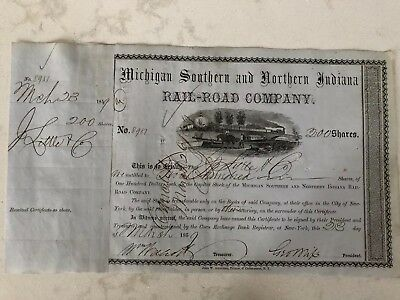 OLD Michigan Southern & Northern Indiana Railroad Stock Certificate Dated 1859