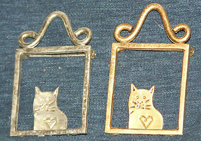Old Pair of Cat in Window Pins Silver & Gold Tones