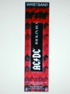 Ac/dc Back In Black With White Logo Rubber Wristband New In The Package