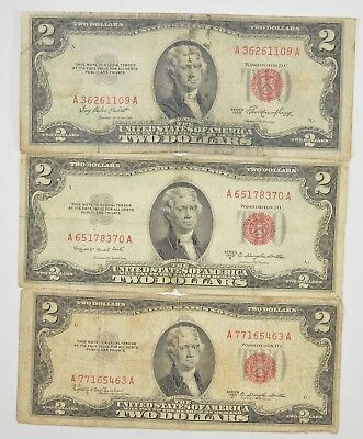 Lot (3) Red Seal $2.00 US 1953 or 1963 Notes - Currency Collection *292