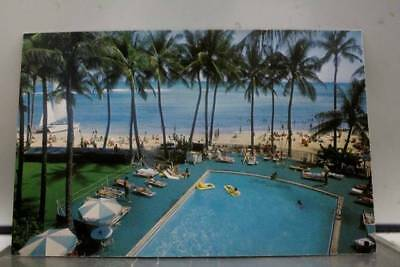 Hawaii HI Waikiki Beach Honolulu Outrigger Hotels Postcard Old Vintage Card View