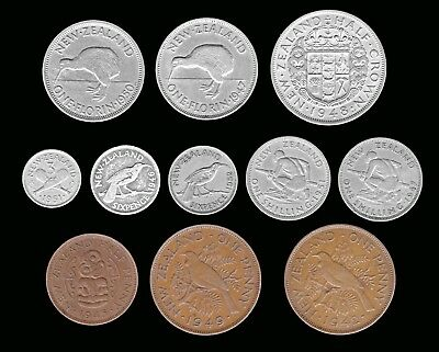 NEW ZEALAND:-King George VI, 11 different 1/2 penny  - 1/2 crown coins. AP7105