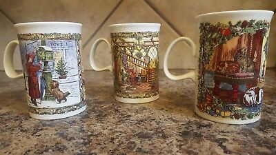"""Dunoon England Lot of 3 Christmas Cups  4"""" Tall Made in Scotland"""