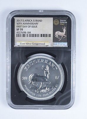 2017 South African Krugerrand 1 Oz Silver 1 Rand NGC SP-70 FDI *762