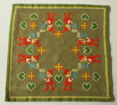 Swedish Xmas: Light brown cross-stitched doily, santas with gifts, hearts