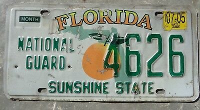 Florida 2005 National guard license plate #  4626
