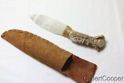 Flint And Deer Horn Knife W/sheath - Art Gerber