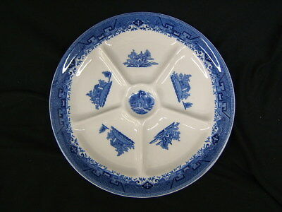 """Shenango Divided Relish Plate White With Blue 10"""" Diameter New Castle, PA VGC"""