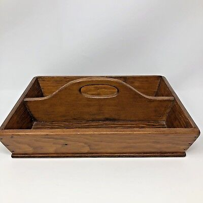 Rustic Primitive Vintage Wood Divided Tray Tote Caddy Handle Crafts Kitchen