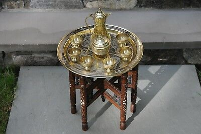 Vintage Persian Brass Top Table + Brass Tea Coffee Set - Copper & Silver Overlay