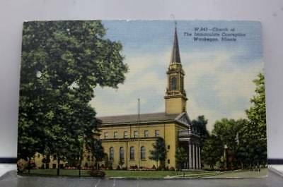 Illinois IL Church of Immaculate Conception Waukegan Postcard Old Vintage Card