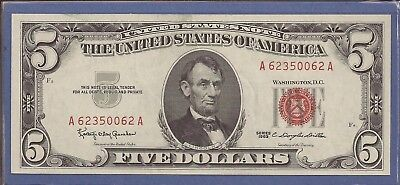 1963 $5 United States Note (USN),Red Seal Note,circulated choice crisp XF,Nice!