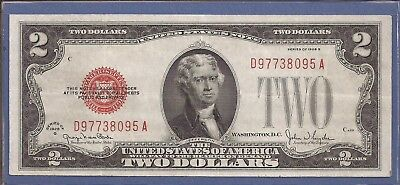 1928 G $2 United States Note (USN),Large Red Seal,Choice Crisp Very Fine,Nice!
