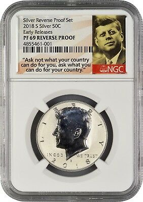 2018 S Silver Kennedy Half Dollar REVERSE PROOF Early Releases NGC PF69  (POR)