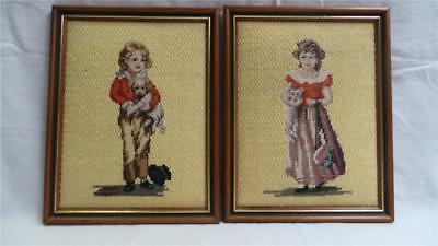 Stunning Pair Of Framed Handcrafted Needlepoint Wool Tapestries