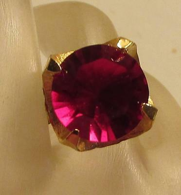 Vintage 60's Chunky Glass Crystal Rhinestone Cocktail Adjustable Ring Red