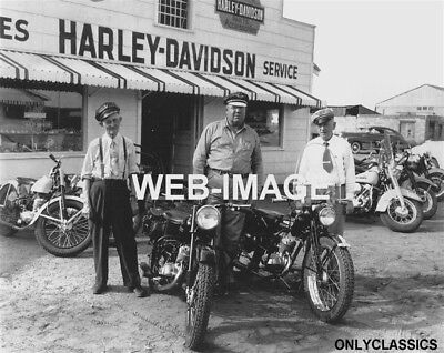 1951 Harley Davidson Motorcycle Dealer Photo Great Sales Service Sign Americana