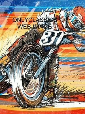 Ama Motorcycle Racing 12X16 Art Poster Flat Track Power Slide Harley Davidson