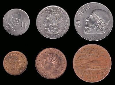 MEXICO:- 6 different late 20th century coins dated 1950's  to 1970,s. AP7077
