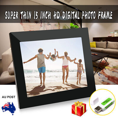 15'' HD 1080P LED Digital Photo Picture Frame Video Player Remote Control Gift