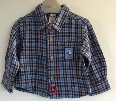 Baby Mac Baby Boys Blue Check Brushed Cotton Shirt. Age 3-6 Months