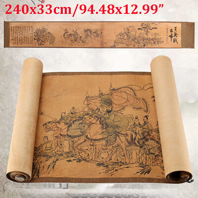 Old Chinese Silk Paper Painting Three Heroes Fought Against Lvbu Scroll Painting