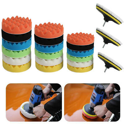 "9 Pack 7"" 6'' Polishing Sponge Waxing Buffing Pad Compound Car Polisher Drill"