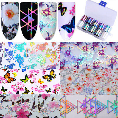 Holographic Flower Nail Foil Decals Nail Art Stickers Tips Adesivo Decalcomania
