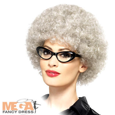 Granny Perm Wig Old Lady Grey Fancy Dress Adult Womens Costume Accessory New