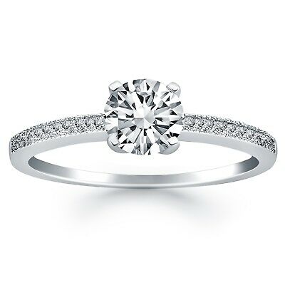 0.10Ct To 0.50Ct Natural G-H/ Si 14K/18K White Gold Solitaire Women Diamond Ring