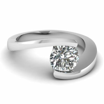 14K/ 18K White Gold Women Round Solitaire 0.15 Ct-0.50 Ct Natural Diamond Ring