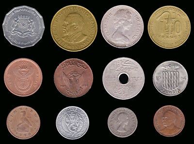AFRICA:- 12 different 20th. century circulation coins from 12 countries. AP7079