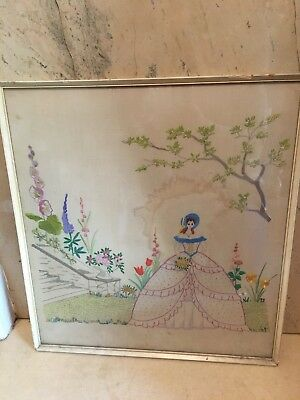 OLD / VINTAGE HAND EMBROIDERED PICTURE FRAMED, LADY IN THE GARDEN Pre 1960