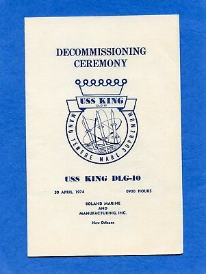 USS King DLG 10 Decommissioning Navy Ceremony Program