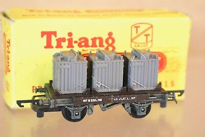TRIANG T276 TT GAUGE BR BLACK CONFLAT WAGON B530298 with CONTAINER LOAD BOXED
