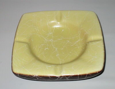 String Drizzle Ashtray Brown Yellow White  Mid Century Retro USA Pottery Signed
