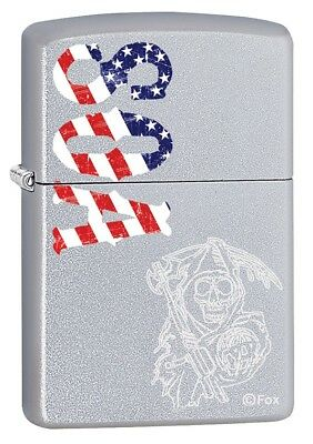 Zippo Lighter: Sons of Anarchy, SOA American Flag - Satin Chrome 79695