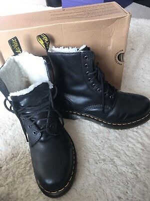 Women s Serena leather Black Dr Martens Ankle Boots Uk 7 Eu 41 Fleece faux  fur 87aa23ee9a82
